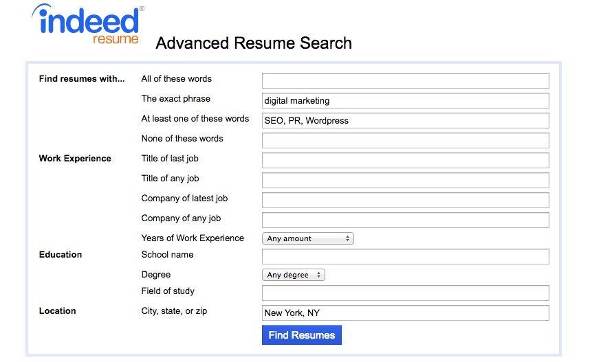 resume database indeed
