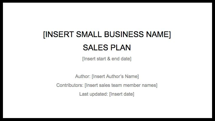 Sales Plan Template u2013 How to Create a Sales Plan to Drive Business - sales plan templates
