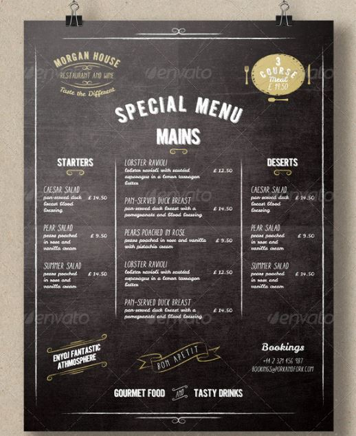 Top 25 Free  Paid Restaurant Menu Templates - food menu template
