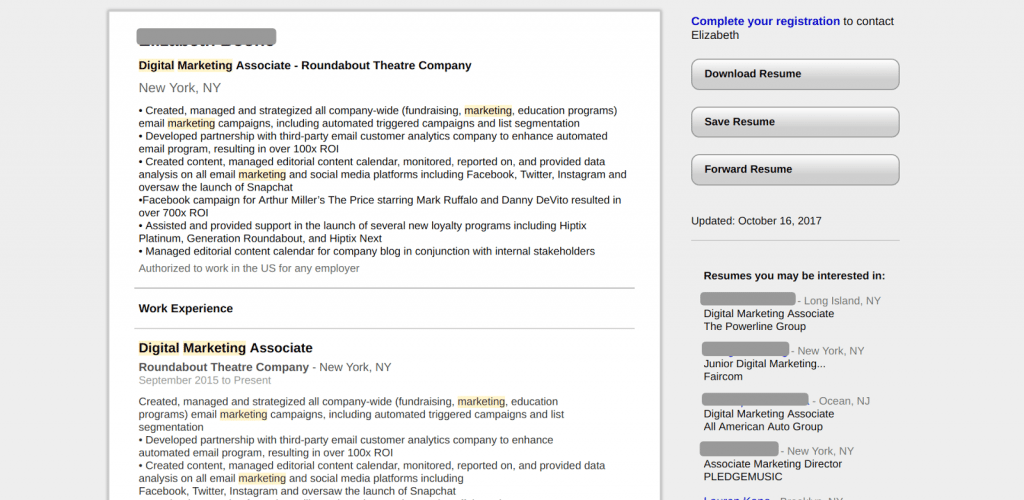 do scannable resumes offer links to examples of performance