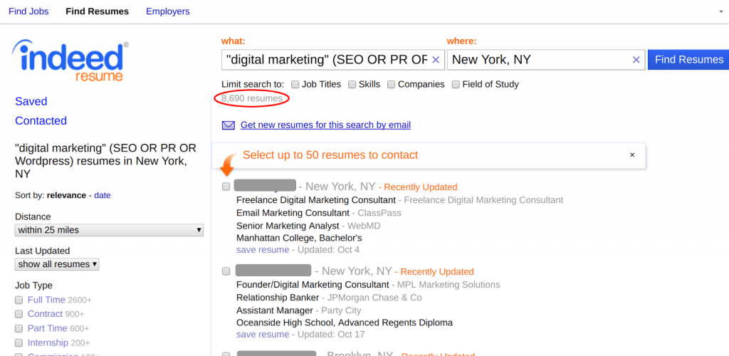 advanced resume search indeed