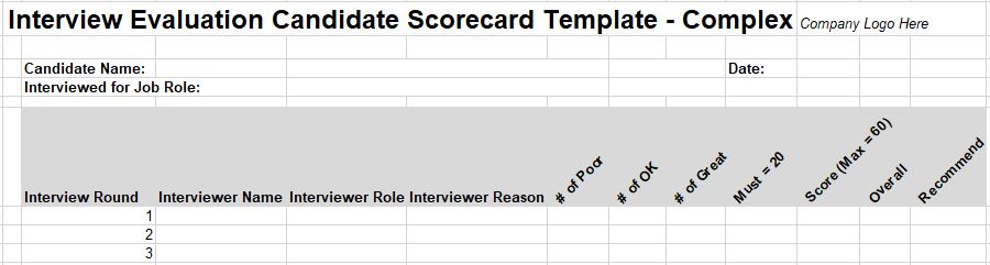 11 Free Interview Evaluation Forms  Scorecard Templates - Sample Interview Evaluation Comments