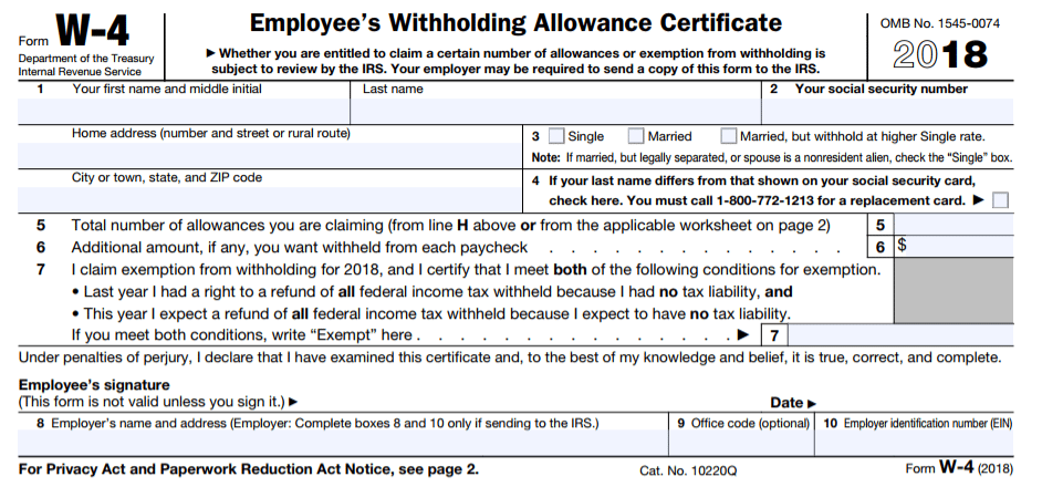 Contemporary Withholding Allowance Certificate Image