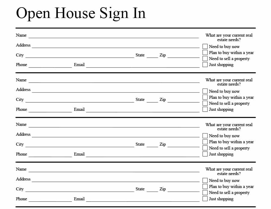 4 Free Real Estate Open House Sign-In Sheet Templates + Tips