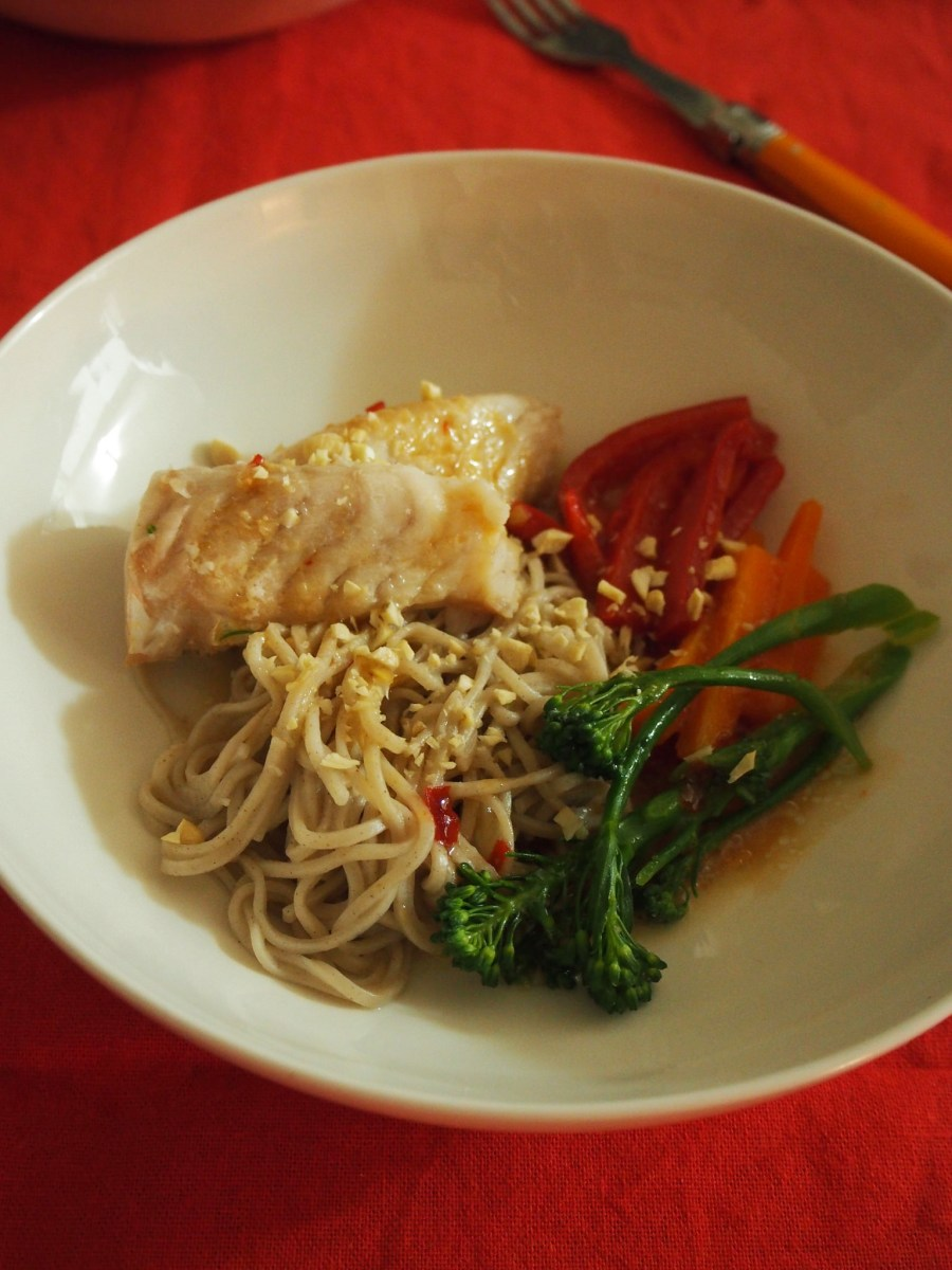 Simple soba noodle and fish dinner