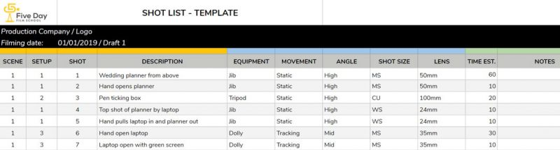 The Essential 10 Step Guide to Shot Lists (Free Shot List Template