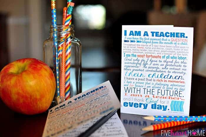 Teacher Appreciation Printables ~ 8×10\u2033 Print, Note Cards,  Gift