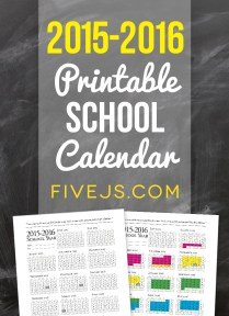 2015-2016 Printable School Calendar from FiveJs.com