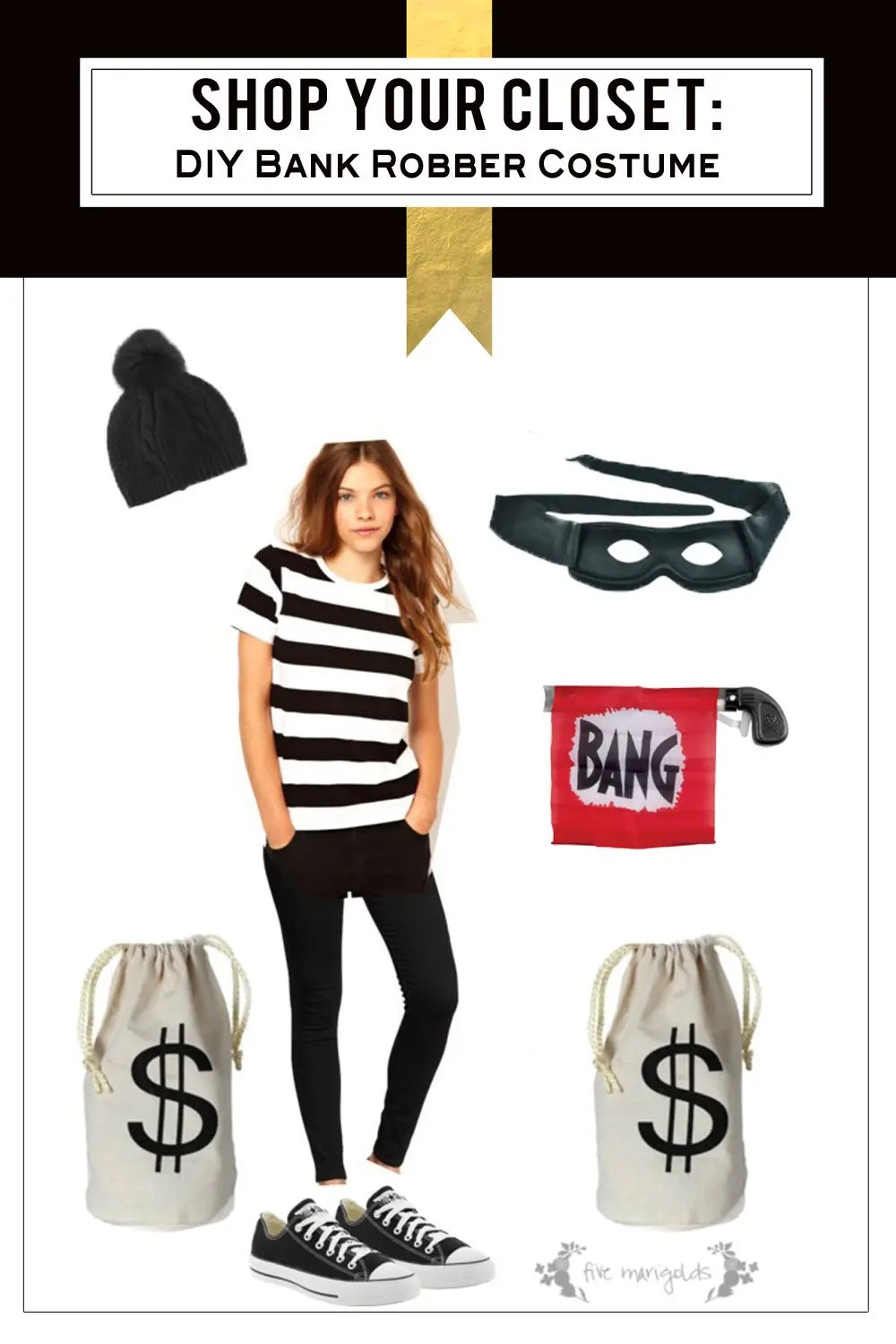 Diy Bank Robber Shirt Free Halloween Costume Bank Robber Five Marigolds