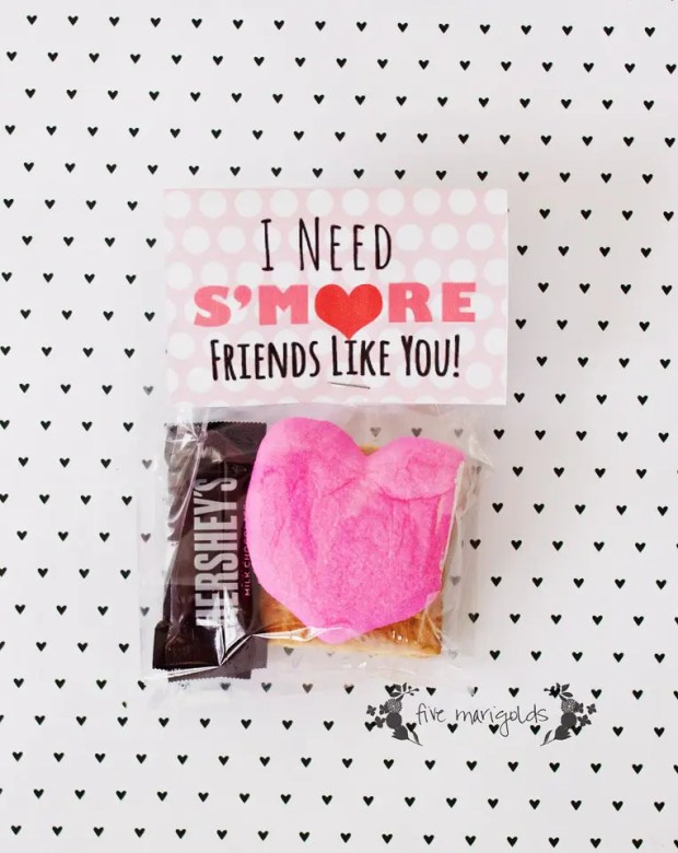 I Need S'More Friends Like You Valentine's Printable | www.fivemarigolds.com