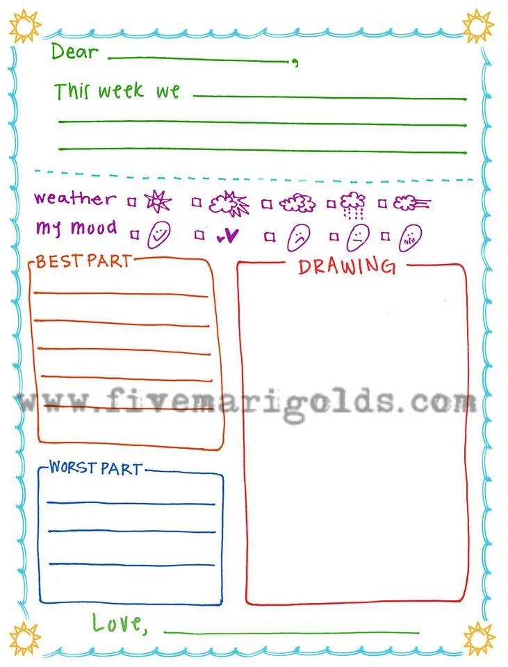 Summer Letter Templates for Kids - Five Marigolds