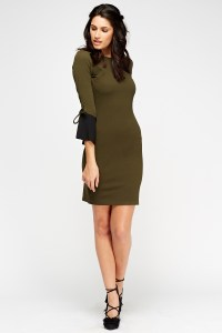 Two Tone Tie Cuff Dress - 3 Colours - Just 5