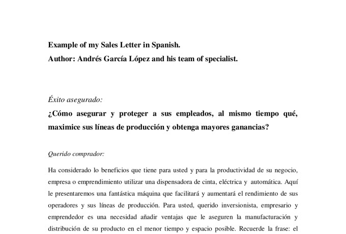 Do a persuasive sales letter in spanish by Andresgar1