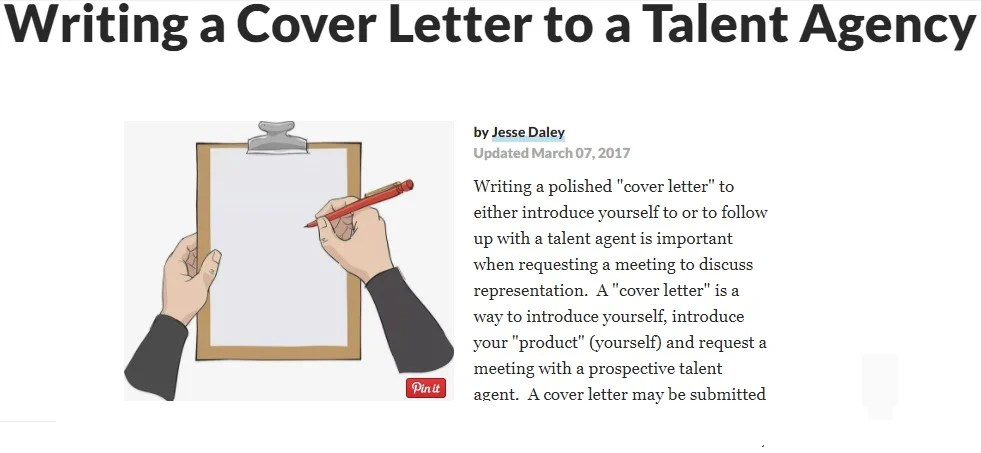Write a cover letter for an actor to submit to talent agents for