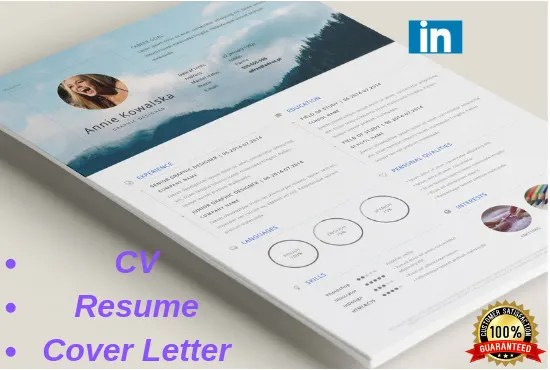 Create a professional resume, cv, cover letter or linkedin profile