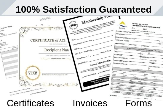Create certificate, form,invoice in word,pdf and ms excel by