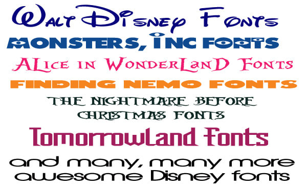 Send you 29 disney fonts from my personal collection by Clay482g