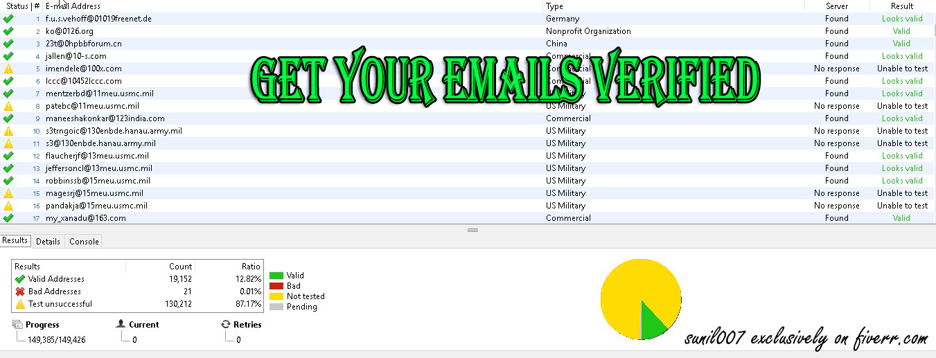 Verify your 20k emails by Sunil007