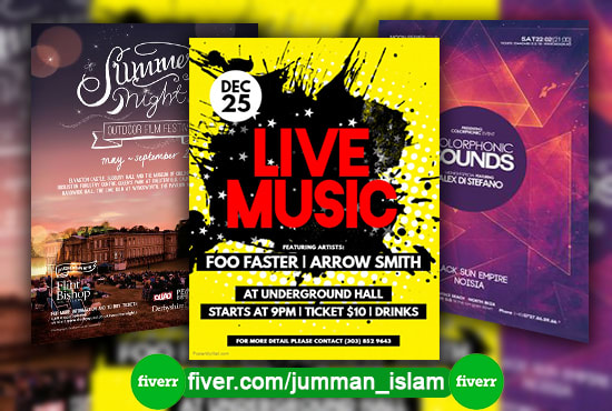 music promotion, brochure, poster,party,flyer