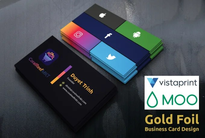 Do vista print, moo print and gold foil business card design by