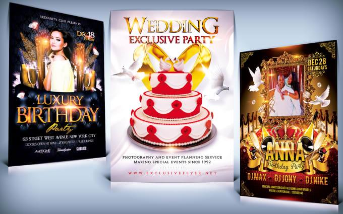 Design wedding flyer and birthday flyer by Zoyabaloch274