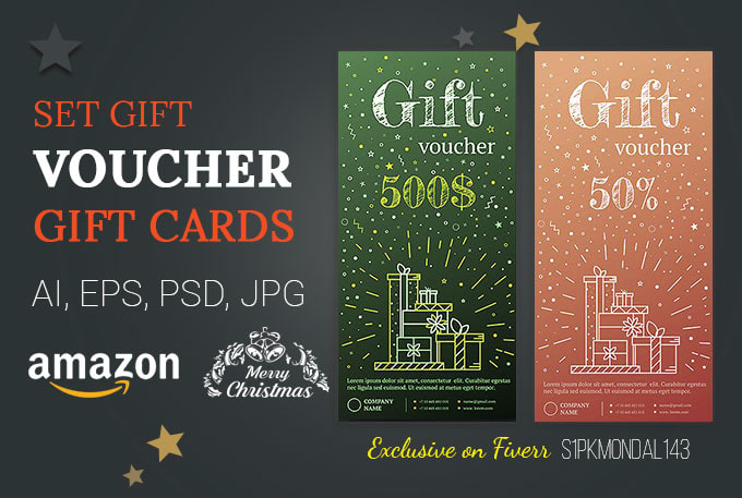 Design amazon gift card, voucher, flyer, poster, coupon by S1pkmondal143