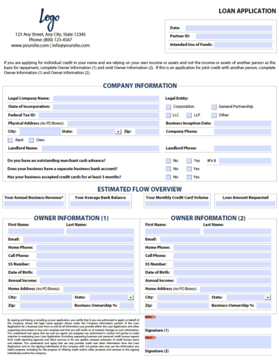 Give you a fillable pdf business loan application form by Pdfhelper