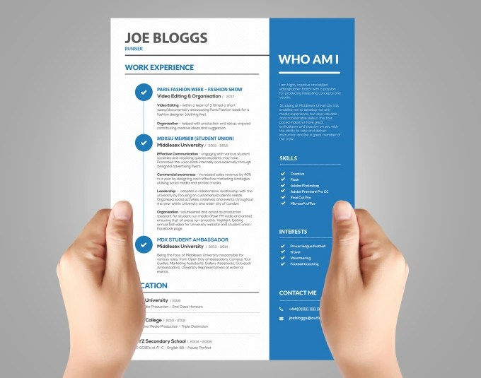 Create an attractive and interactive resume design, cv design by