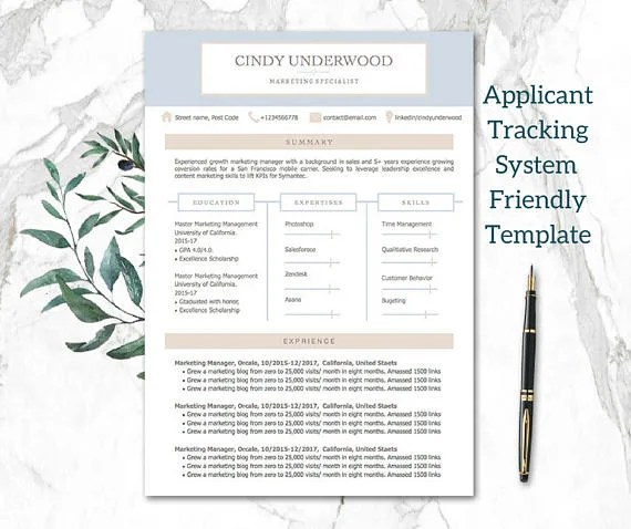 Provide applicant tracking system friendly resume template by