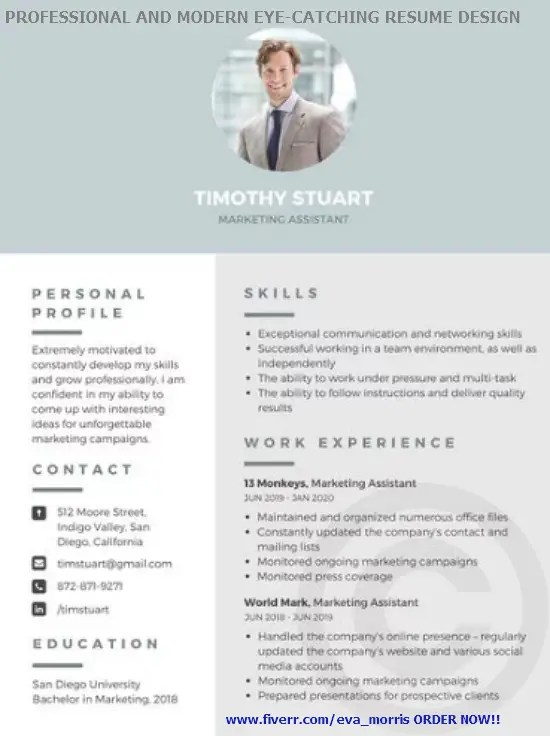 Write and design a professional and modern resume by Eva_morris