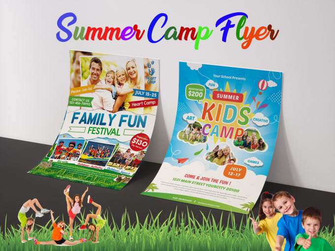 Make kids party educational, summer camp flyer by Fab100