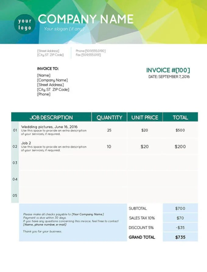 Create invoice templates on excel by Jerseypp
