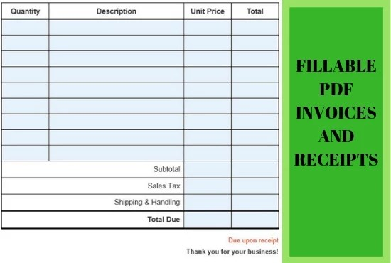 Create a professional fillable pdf invoice or receipt by Nausheenzahra