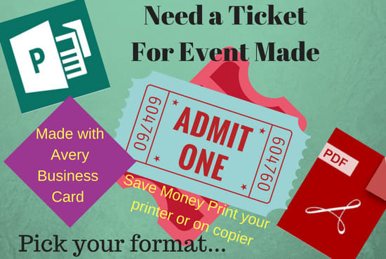 eboswell1230  I will create an event ticket with business card template  for $15 on wwwfiverr