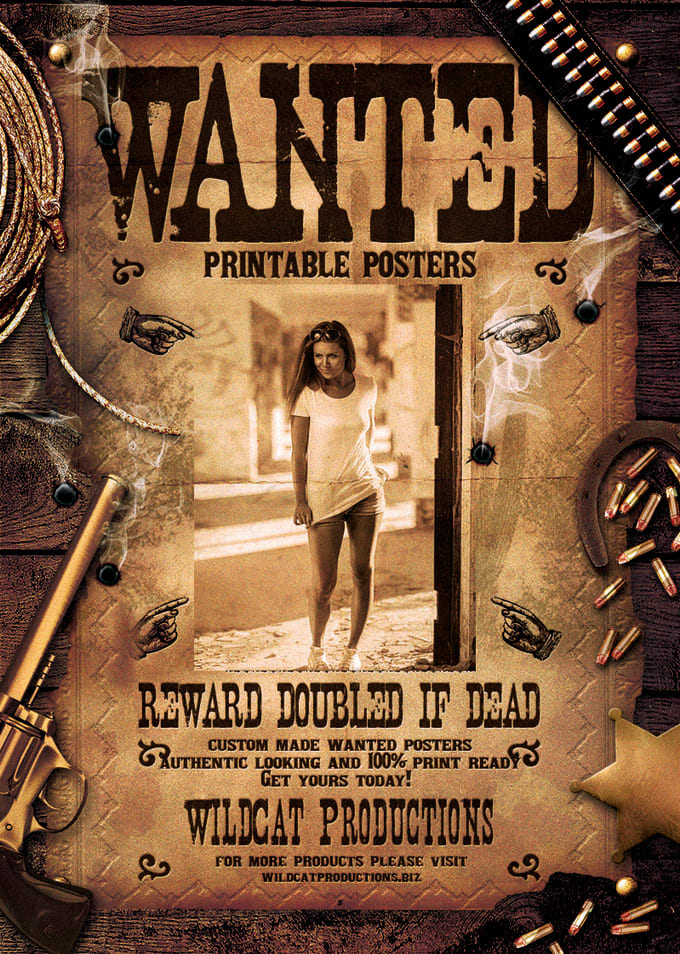 Create a printable wanted poster by Djacidfx