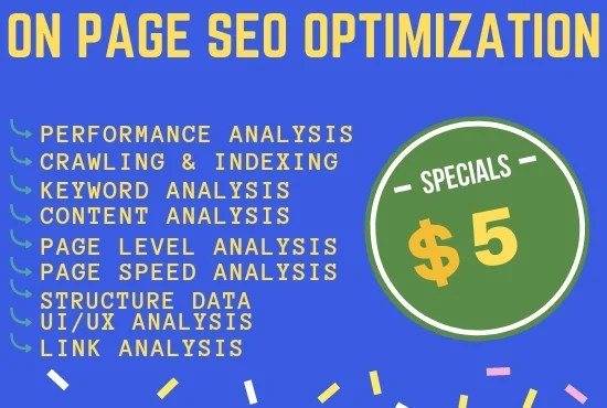 Do on page seo optimization and keyword performance analysis by