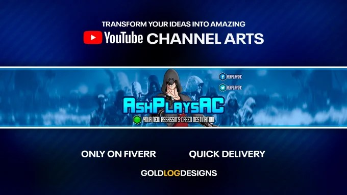 Design professional youtube channel art by Goldlogdesigns