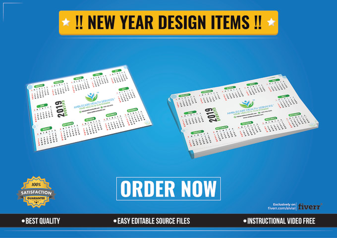 Design new year calendar flyer social cover banner ads by Alvial