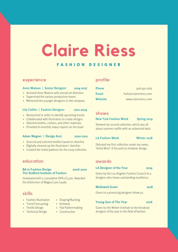 Design a eye catching resume by Aweandco