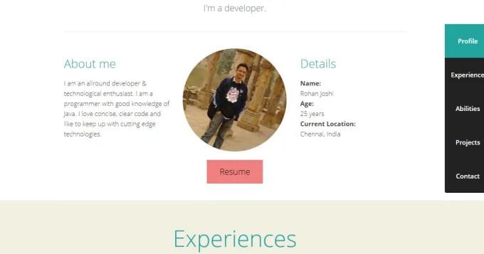 Create interactive resume portfolio website for you by Rohanjoshi81