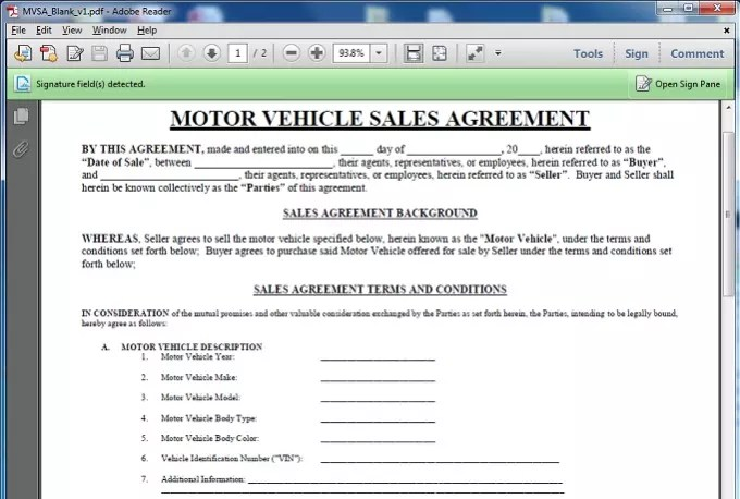Give you a motor vehicle sales contract template by Geoffreyg