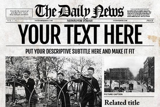 customize a old fashioned newspaper for your