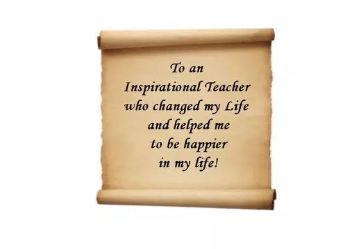 Send a personal message and a link to my inspirational teacher video