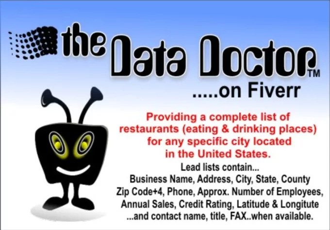 Provide a list of restaurants in excel format for any city in the
