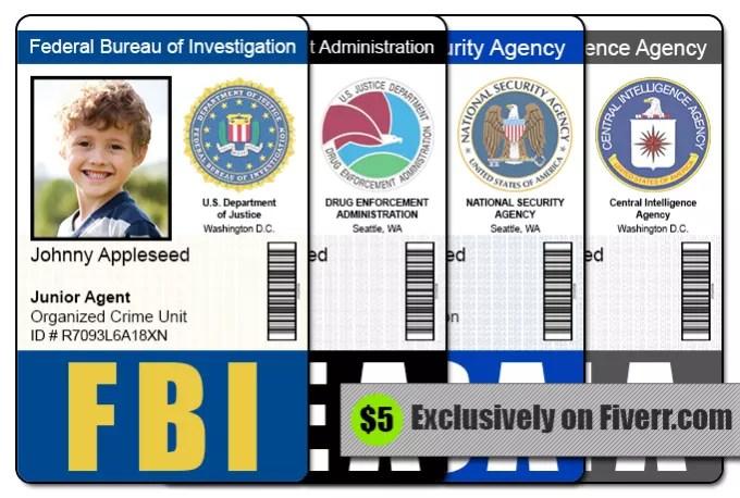 Send 1 fbi, cia, nsa, or dea id badge photoshop template by