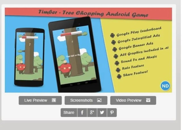 Send timber tree chopping android arcade game template by Tomnana - android template