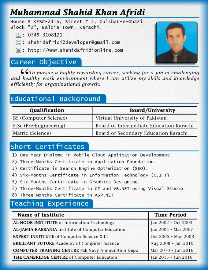 Design cv, resume, curriculum vitae and cover letter by Mshahidafridi