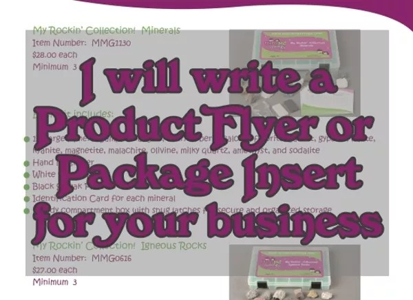 Write a product flyer or package insert for your business by
