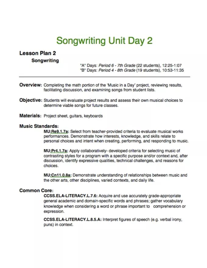 Create a music education lesson plan for k12 music teachers by Gapavliv - lesson plan words