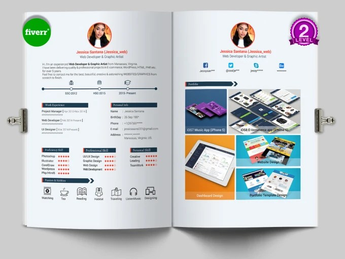 Design a professional cv, resume, coverletter or portfolio by